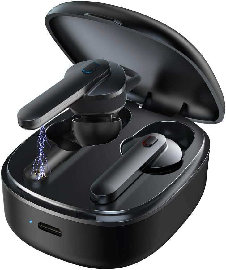 Wireless Earbuds, Bluetooth 5.0 in-Ear Stereo Headphones Built-in Mic with Charging Case True Wireless Headphones 5 Hours Playtime, One-Key Control, Hands-Free Calls