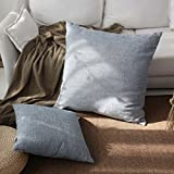 Kevin Textile Decor Linen Pillow Cover Soft Square Throw Pillow Case Sham Denim Blue Cushion Cover for Living Room/Floor, 26x26 inches(1 Pack Only)