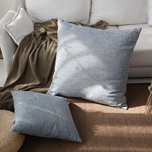 Kevin Textile Decor Linen Pillow Cover Soft Square Throw Pillow Case Sham Denim Blue Cushion Cover for Living Room/Floor, 26x26 inches(1 Pack Only) (Blue Euro Pillow Sham)