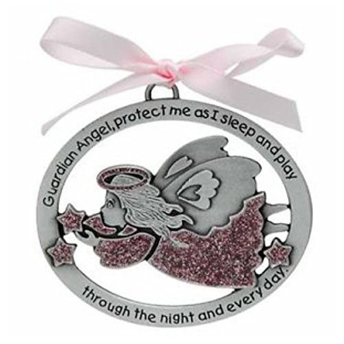 GUARDIAN ANGEL Baby CRIB Medal - CHRISTENING - BAPTISM - Shower Gift - INFANT (GIRL - PINK)