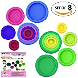 Set of 8 Silicone Food Savers Fruits and Vegetable Huggers Reusable Food Pouch Lid Storage Containers Hammock Protector for Fresh Food   Dishwasher Safe and BPA free Silicone Set in Assorted Colours - No More Plastic Wrap!