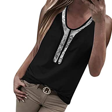 fa99f6a5035b7a KASIDN Women s Round Neck Plus Size Tank Tops Sparkle Sequin Loose Casual  Sleeveless Blouse Tank Tops