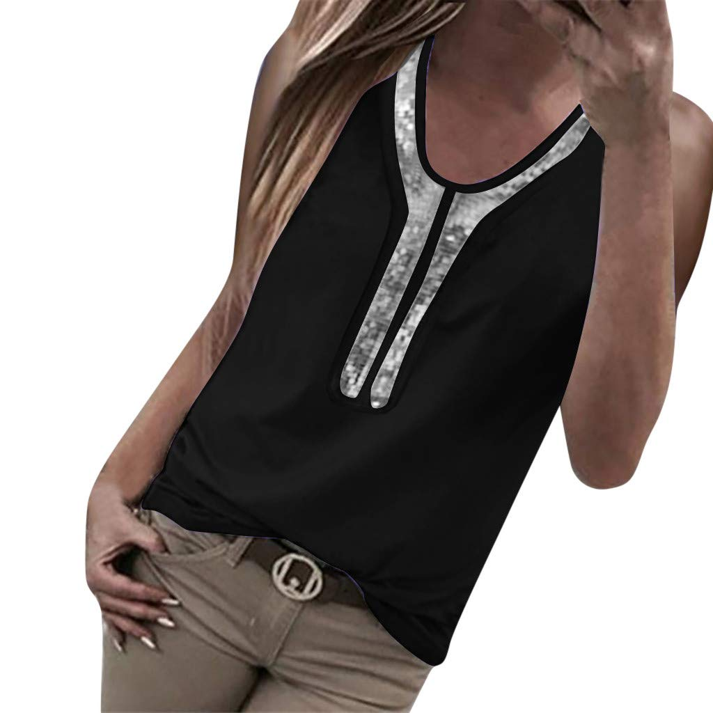 Women Blouses and Tops Fashion 2019 Sexy Sequins Summer Tank Top O-Neck Blouse Sleeveless T-Shirt Black