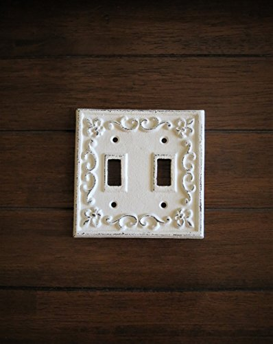 Double Toggle Switch Plate Hand Painted Cast Iron Switchplate Cover Antique White Distressed Fleur de Lis Style (Double Switchplates Switch Accessory)