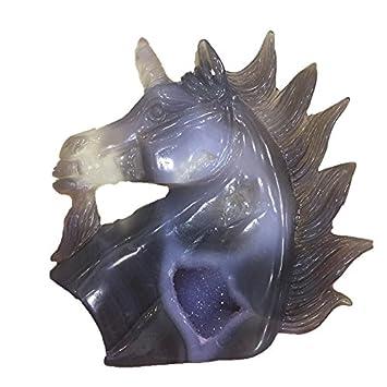 DingSheng Agate Geode Unicorn Natural Crystal Hippocampus Head Quartz Drusy Cluster Animal Unicorns Figurine Carving Skull Statue Reiki Crafts Gifts