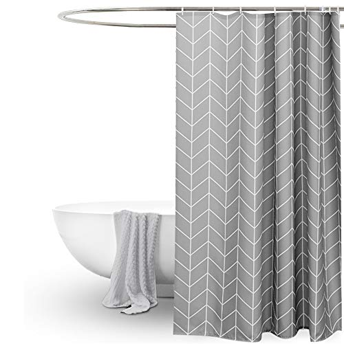EurCross Long Shower Curtain 72x78 inch, Gray White Geometric Fabric Shower Curtains for Bathroom Showers, Stalls and Bathtubs, Machine Washable (Grey White Chevron Fabric)