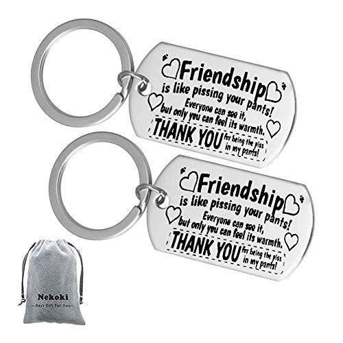 2Pcs Best Friend Gifts Keychain-Friendship is Like Pissing Your Pants! Funny Long Distance Friendship Gifts for Birthday,Graduation Gifts Christmas Gifts