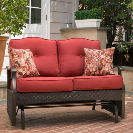 Better Homes & Gardens* Outdoor Loveseat Glider Bench with 2 Cushions and 2 Decorative Pillows, Seats 2 in Color Red