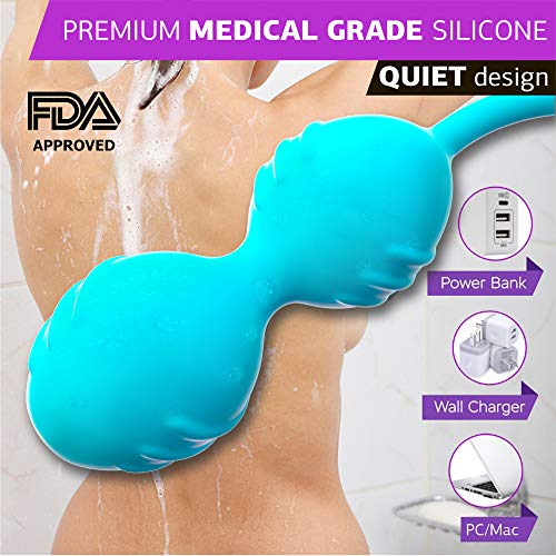 Kegel Balls with Vibration, Kegel Ben wa Balls Exerciser for Tightening& Pelvic Floor Exercises for Woman-to Regain Bladder Control for Beginners & Advanced (10 Massages)