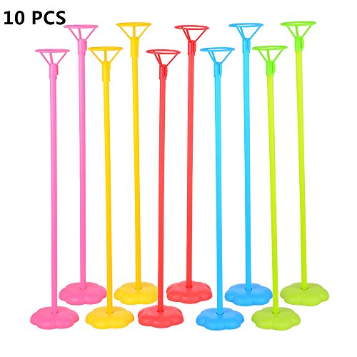 Pretty Seller 10 PCS Random Color Child Safety Round Base Balloon Stick Stand Any Party and Festival Balloon Accessories Supplies by Pretty Seller