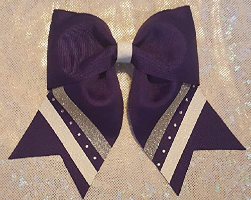 White with Purple and Silver Glitter and Rhinestones Hair Bow