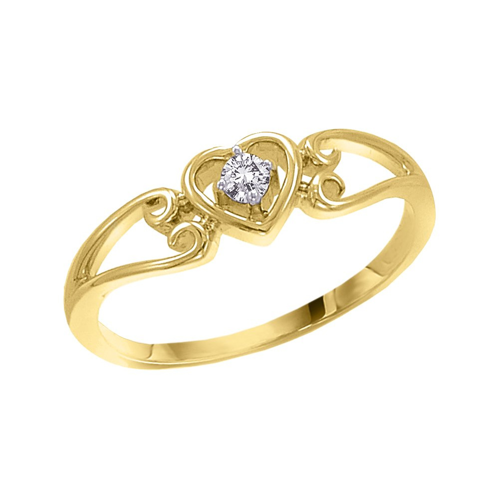 3 Diamond Promise Ring in 10K Yellow Gold 1//20 cttw, G-H,I2-I3 Size-8.5