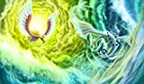 Pokemon Lugia Vs. Ho-Oh TCG playmat, gamemat 24'' wide 14'' tall for trading card game smooth cloth surface rubber base