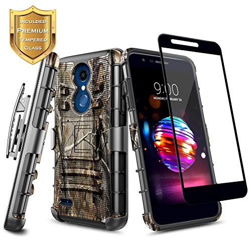 LG K30 Case, LG K10 2018, LG Premier Pro Case w/[Full Coverage Tempered Glass Screen Protector],NageBee [Heavy Duty] Armor Shock Proof [Belt Clip Holster Kickstand] Combo Case For LG K30 (X410) -Camo