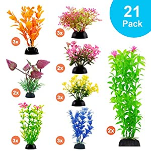CousDUoBe Aquarium Decorations 21 Pack Lifelike Plastic Decor Fish Tank Plants,Used for Household and Office Aquarium…