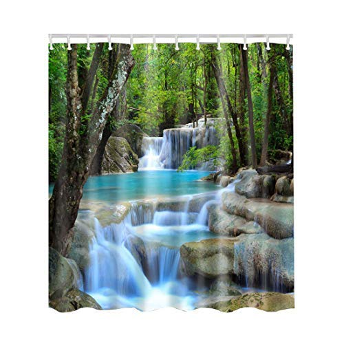 Artown Landscape Shower Curtain, Nature Waterfall Scenery Exotic Trees Primitive Rainforest Jungle Mountains Effect View Print, Fabric Bathroom Decor Set with 12 White PVC Hooks, 72