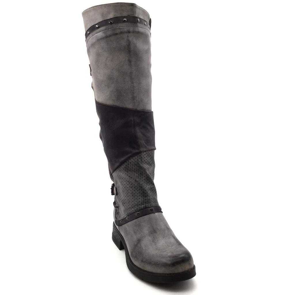 Angkorly Chaussure Mode Cuissarde Botte Motard bi-mati/ère Couverte Femme lani/ère Boucle clout/é Talon Bloc 3.5 CM Int/érieur Fourr/ée