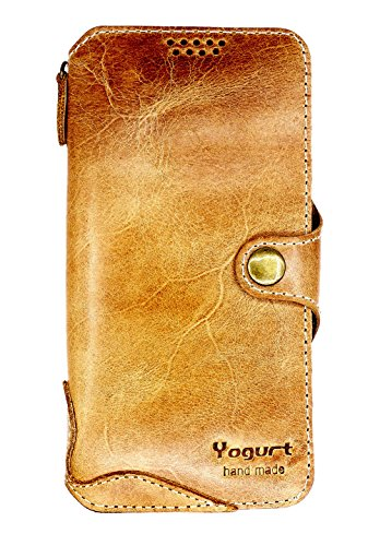 Yogurt for Samsung Galaxy S9 (5.8 Inch) Genuine Leather Wallet Cases Cover Handmade Brown