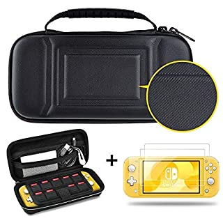 DETUOSI Carrying Case for Nintendo Switch Lite + [2 Pack Free Screen Protector], Ultra Slim Portable Hard Shell Pouch Travel Game Bag for Switch Lite/Mini Console Accessories Holds 9 Game Cards#Black