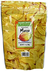 Trader Joe's Dried Fruit Freeze Dried Mango Unsweetened and Unsulfured 1.7 oz, (4-Pack )