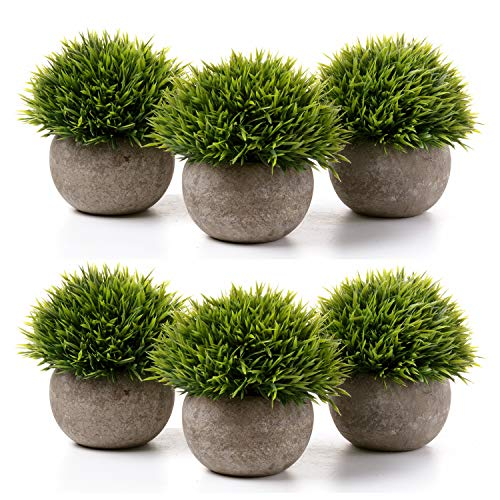 - T4U Fake Artificial Potted Grass Plants - Small Green Pack of 6, Home and Office Decoration Desktop Windowsill Bonsai Indoor Gift for Wedding Birthday Christmas