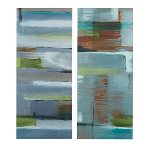 Ink+Ivy Crossroads Grey Abstract Blue Grey Canvas Wall Art 35X15 2 Piece Multi Panel, Abstract Modern/Contemporary Wall Décor