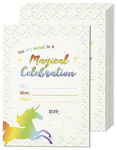 Unicorn Party Invitations - 24 Fill-in Invites with Red Envelopes for Kids Birthday and Baby Shower, 5 x 7 inches, Postcard Style