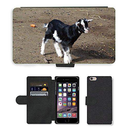 "Just Phone Cases PU Leather Flip Custodia Protettiva Case Cover per // M00128099 Chèvre Chèvres animaux mammifères Ferme // Apple iPhone 6 PLUS 5.5"""