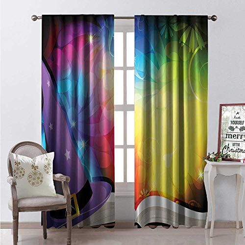 - Hengshu Witch Room Darkening Wide Curtains Witch Hat and Spell Book on Colorful Abstract Fairytale Background Sorcery Magic Decor Curtains by W108 x L108 Multicolor