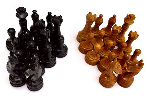 Radicaln Black and Golden Marble Complete 32 figures Chess Set, Handmade, Two Player Chess Game figures, Marble Chessboard Figures