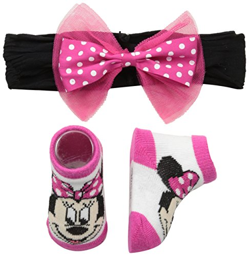 Disney Baby Girl's Minnie Mouse Headband Set Accessory, pink polka dot bow, One-Size