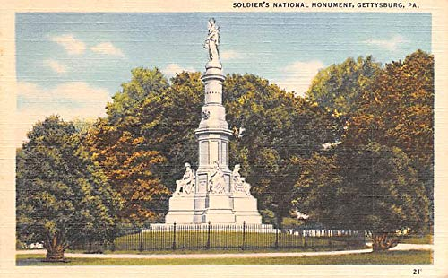 Civil War Post Card Old Vintage Antique Postcard Soldier's National Monument Gettysburg, PA USA Unused