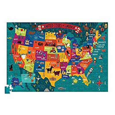Crocodile Creek USA Map 200 piece Jigsaw Puzzle and Matching Poster: Toys & Games