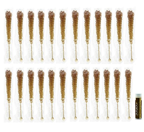 Dryden & Palmer ROOT BEER Rock Candy Crystal Sticks – 24 Individually Wrapped Sticks & a Jarosa Bee Organic Chocolate Bliss Lip Balm