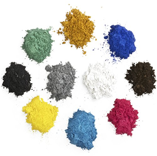 Mica Powder Set of Pigments-Includes 10 Beautiful Colors for Use as an Epoxy Resin Color Pigment, Soap Making Pigment, Resin Dye, Artwork, Crafts and More! 10 Grams of Each Color Pigment Powder (Shimmer Colors 10g Powder)