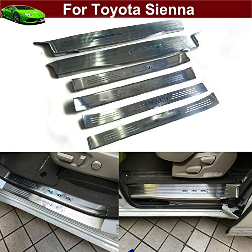 Kaitian 6pcs Stainless Steel Door Inside Sill Plate Cover Trim Molding Trim Molding Strip Decorative Emblems for Toyota Sienna 2011 2012 2013 2014 2015 2016 2017 2018 2019 (Emblems Door Sill)