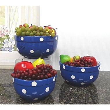 Set of 3 POLKA DOTS Blue Ceramic Mixing Bowls, 82169MIX By ACK