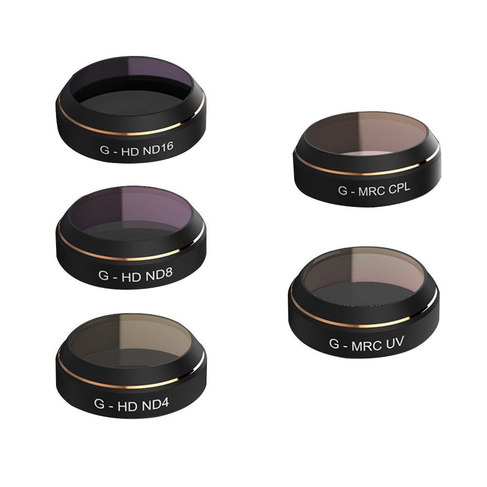 Joint Vcitory 5 pcs Camera Lens Filter Accessories CPL UV ND4 ND8 ND16 HD Filter Set for DJI MAVIC Pro Camera Lens UV Circular Polarizer Neutral Density Filters (G-MRC CPL+UV+G-HD ND4+ND8+ND16)