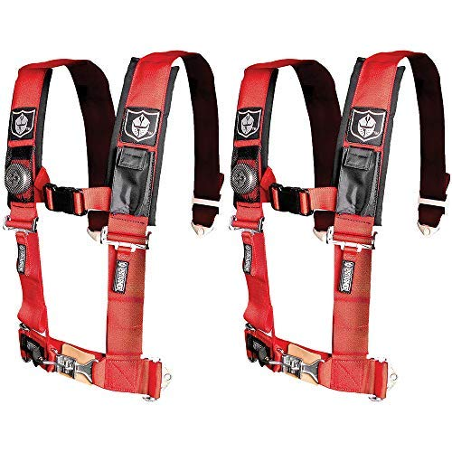 Pro Armor A114220RD Red 4-Point Harness 2'' Straps, 2 Pack