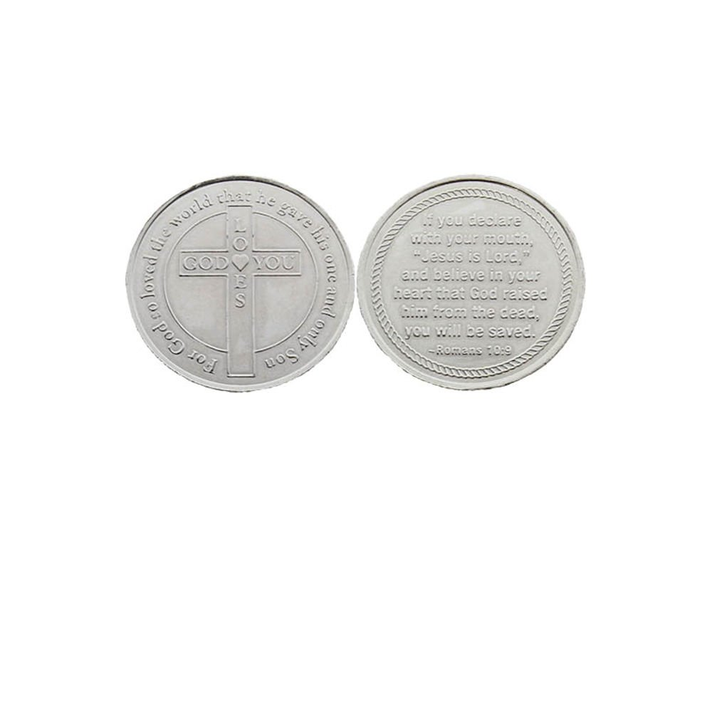 24 God Loves You Christian Salvation Metal Coins (Pack of 24) by Sterling Gifts