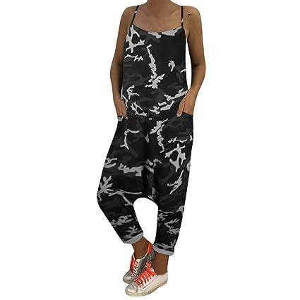b6256649ac02 Dreamyth-Summer Women Camouflage Loose Jumpsuits Rompers Deep V-Neck Herem  Pants Sport Slacks