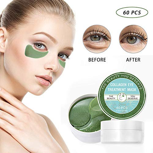 51PACSWP6nL - Chlorella Anti-Aging Collagen Eye Treatment Mask Eye Pads,Effectively Remove Fine Lines Eliminate Edema Eye Bag Reduce Dark Circles,Deeply Hydrating Eye Skin(30 Pairs/60 Pcs)