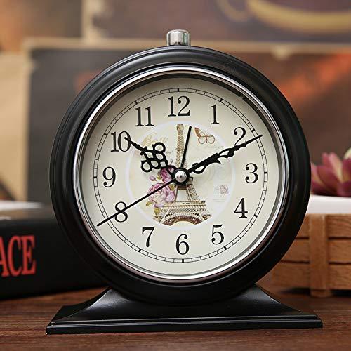 YJFNZ Digital Alarm Clock Desk Clock Double Ring Wrought Iron Metal Student Small Clock 14 12 4.5 cm Retro 3D Metal Alarm Clock