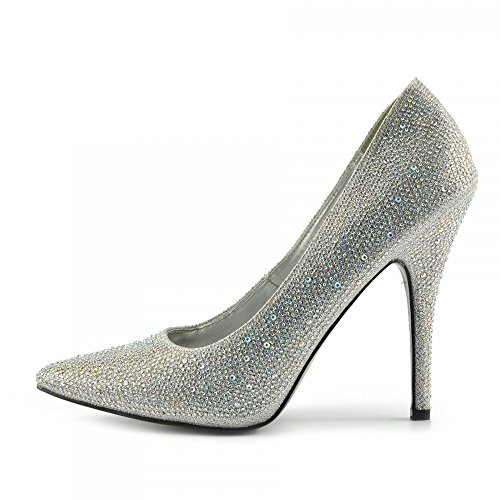 Court Heel 12 HIGH Glitter 924 Sizes Silver Toe 9 Big Pointy 10 Dresser New Shoes Drag Queen Mens Womens 11 BS12924 UK Cross P0488q