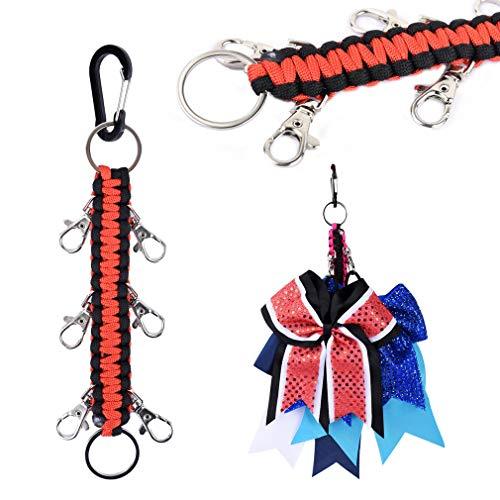 DEEKA Paracord Handmade Cheer Bows Holder for Cheerleading Teen Girls High School College Sports - Red/Black