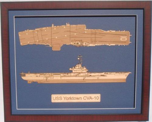 - USS Yorktown CV-10 framed laser cut wood model