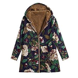 XOWRTE Clearence Sale! Women's Coat Oversize Cotton Vintage Print Jacket Hooded Overcoat Warm Winter Outwear
