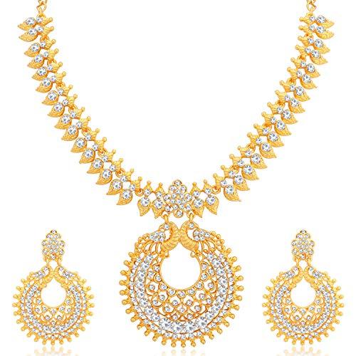 Sukkhi Ethnic Gold Plated Wedding Jewellery Austrian Diamond Peacock Necklace Set for Women (N79642_D1)