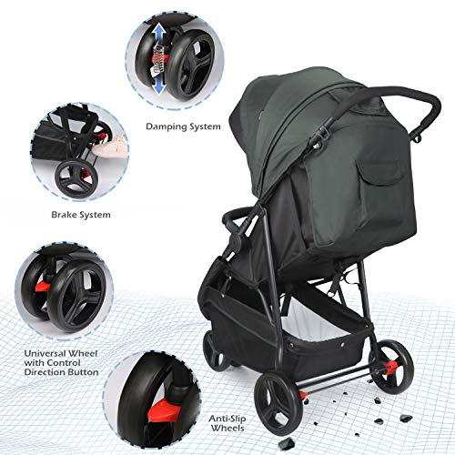 51PAEEqzCpL - Meinkind Baby Stroller, Foldable Jogger Stroller Lightweight Baby Strollers 3-Wheels Running Stroller Travel Stroller With Canopy, Snack Tray, 5-Point Safety Belt, Storage Basket, Up To 33lbs Toddler