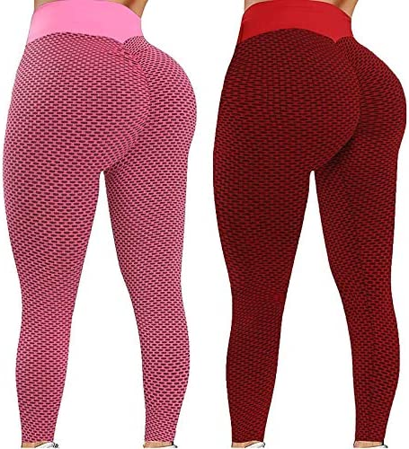 2 Pack High Waist Yoga Pants for Women, Butt Lift Body Shaper Yoga Leggings Workout Tummy Control Slimming Booty Tights